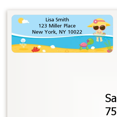 Beach Baby Girl - Baby Shower Return Address Labels