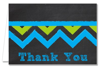Birthday Boy Chalk Inspired - Birthday Party Thank You Cards