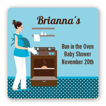 Bun in the Oven Boy - Square Personalized Baby Shower Sticker Labels