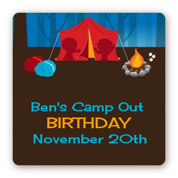 Camping - Square Personalized Birthday Party Sticker Labels