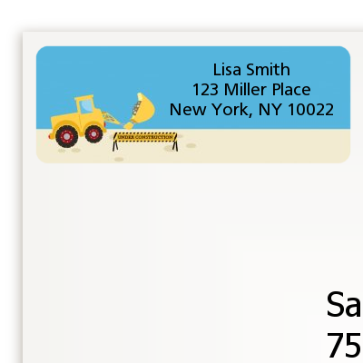 Construction Truck - Baby Shower Return Address Labels
