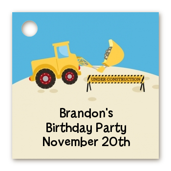 Construction Truck - Personalized Birthday Party Card Stock Favor Tags