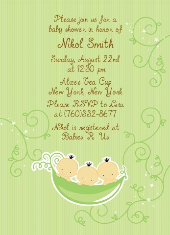 Triplets Three Peas In A Pod Asian Baby Shower Invitations
