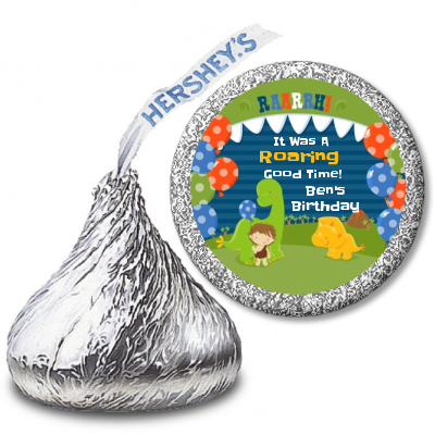 108 DINOSAUR Birthday Party Favors Stickers Labels for Hershey Kiss