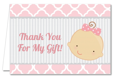 Gender Reveal - Girl - Baby Shower Thank You Cards