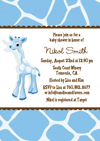 Giraffe Blue - Baby Shower Invitations