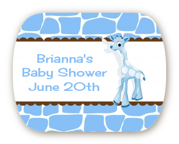 Giraffe Blue - Personalized Baby Shower Rounded Corner Stickers