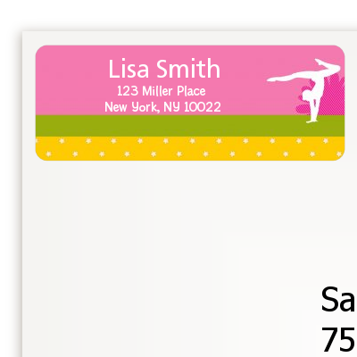 Gymnastics - Birthday Party Return Address Labels