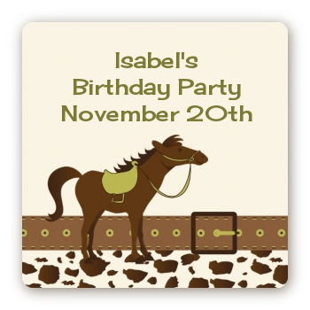 Horse - Square Personalized Birthday Party Sticker Labels