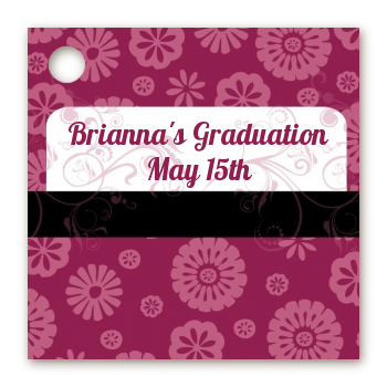 Maroon Floral - Personalized Graduation Party Card Stock Favor Tags