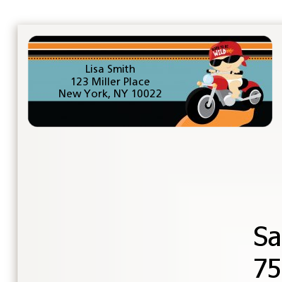 Motorcycle Baby - Baby Shower Return Address Labels