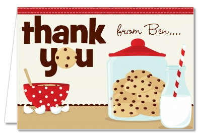 Milk & Cookies - Birthday Party Thank You Cards