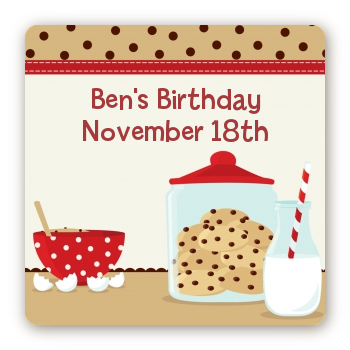Milk & Cookies - Square Personalized Birthday Party Sticker Labels