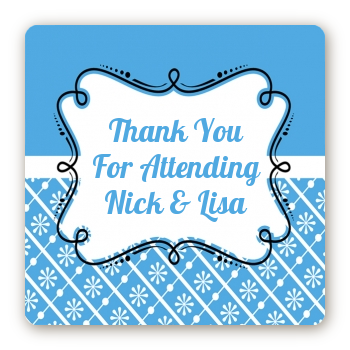Modern Thatch Blue - Personalized Everyday Party Square Sticker Labels