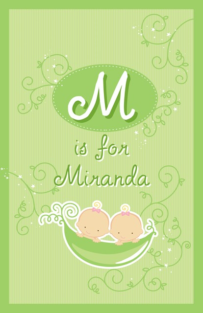 Twins Two Peas in a Pod Caucasian Two Girls - Personalized Baby Shower Nursery Wall Art