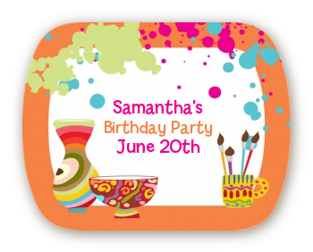 Pottery Painting - Personalized Birthday Party Rounded Corner Stickers