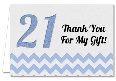 21st Birthday Chevron Pattern - Birthday Party Thank You Cards Pink