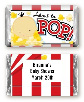 About To Pop ® - Personalized Baby Shower Mini Candy Bar Wrappers Caucasian