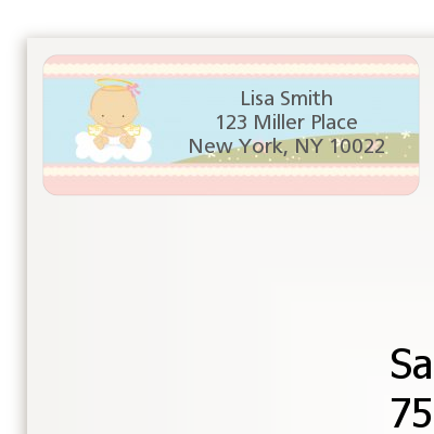 Angel in the Cloud Girl - Baby Shower Return Address Labels Caucasian