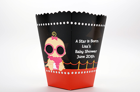 A Star Is Born Hollywood ® - Personalized Baby Shower Popcorn Boxes Caucasian Girl