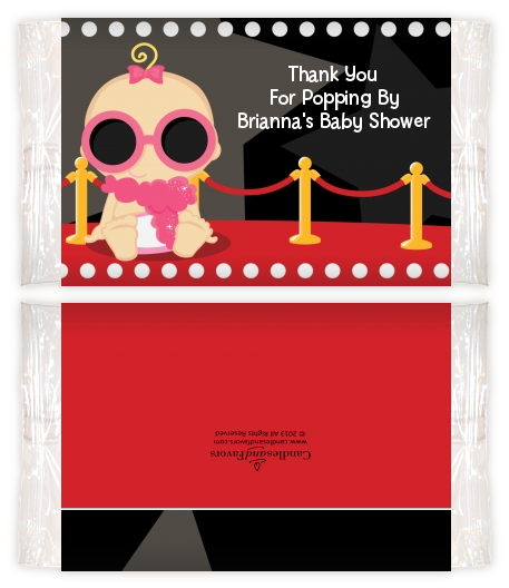 A Star Is Born Hollywood ® - Personalized Popcorn Wrapper Baby Shower Favors Caucasian Girl