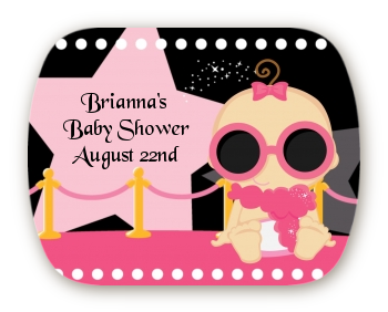 A Star Is Born Hollywood Black|Pink - Personalized Baby Shower Rounded Corner Stickers Blonde Hair