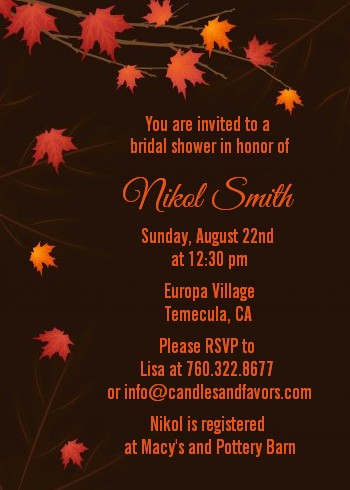 Autumn Leaves - Bridal Shower Invitations