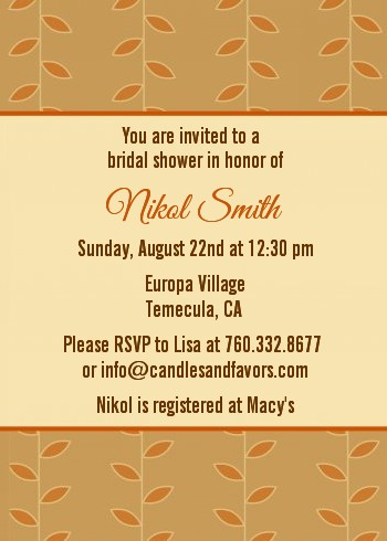 Autumn Tree - Bridal Shower Invitations