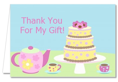 Baby Brewing Tea Party - Baby Shower Thank You Cards