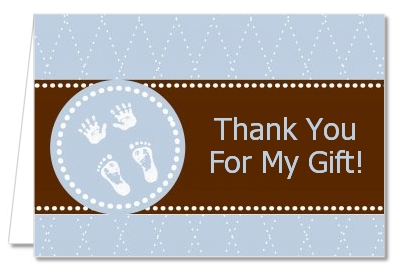 Baby Feet Pitter Patter Blue - Baby Shower Thank You Cards