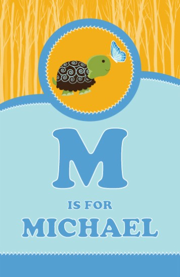 Baby Turtle Blue - Personalized Baby Shower Nursery Wall Art
