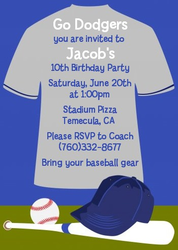 Baseball Jersey Blue and Grey - Birthday Party Invitations