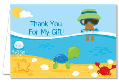 Beach Baby African American Boy - Baby Shower Thank You Cards