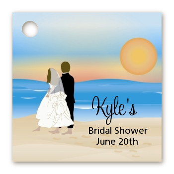 Beach Couple - Personalized Bridal Shower Card Stock Favor Tags