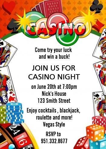Casino Night Vegas Style - Birthday Party Invitations