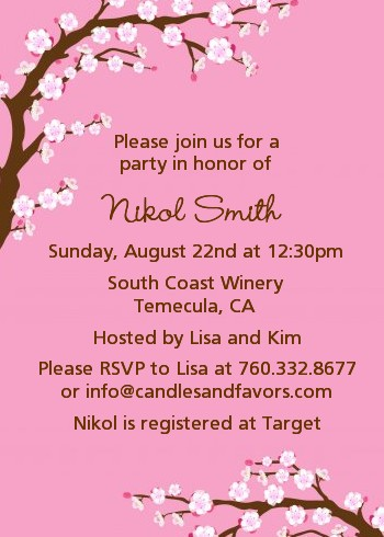 Cherry Blossom Baby Shower Invitations Candles And Favors