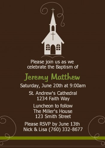 Church Baptism / Christening Invitations | Candles and Favors