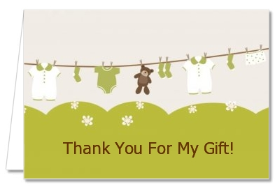 Clothesline It's A Baby - Baby Shower Thank You Cards