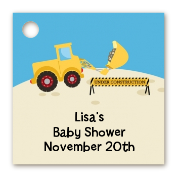 Construction Truck - Personalized Baby Shower Card Stock Favor Tags