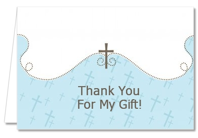 Cross Blue - Baptism / Christening Thank You Cards