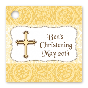 Cross Yellow & Brown - Personalized Baptism / Christening Card Stock Favor Tags