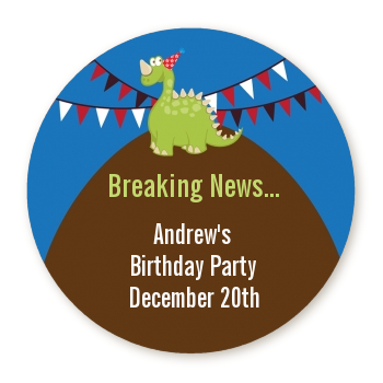 Dinosaur - Round Personalized Birthday Party Sticker Labels
