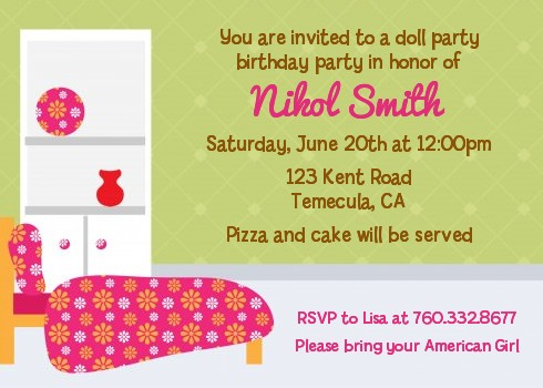 Doll Party - Birthday Party Invitations
