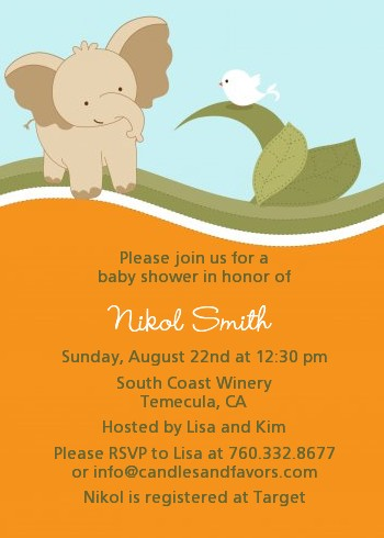 Elephant Baby Neutral - Baby Shower Invitations