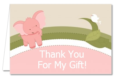 Elephant Baby Pink - Baby Shower Thank You Cards
