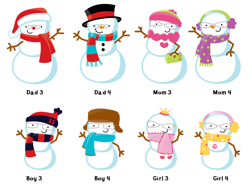 Snowman Family with Snowflakes - Christmas Invitations