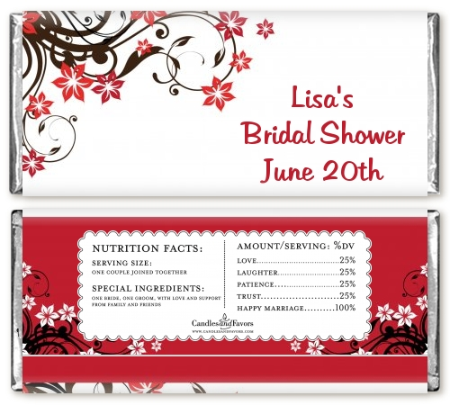 Fl Blossom Personalized Bridal Shower Candy Bar Wrers