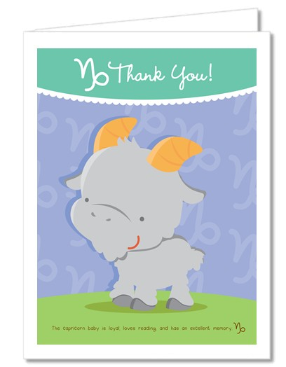 Goat | Capricorn Horoscope - Baby Shower Thank You Cards
