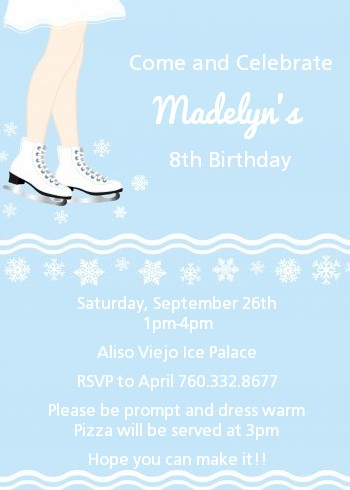 Ice Skating with Snowflakes - Birthday Party Invitations