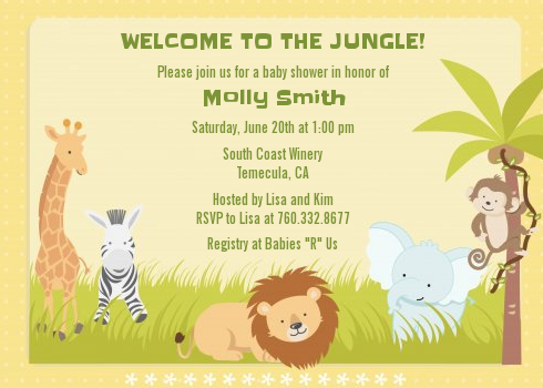 Jungle Safari Party - Baby Shower Invitations Light Beige